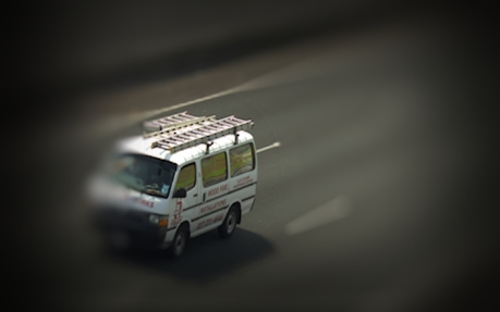 single van on move